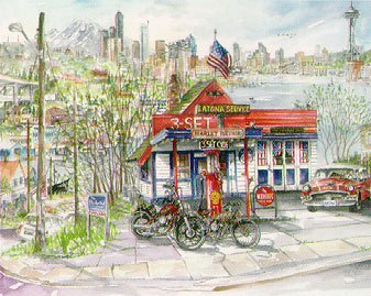 Harley Davidson Seattle >> Seattle Watercolors Classic Harley Davidson Limited Edition