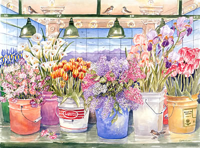 Seattle Watercolors Spring Flowers Pike Place Market Limited Edition