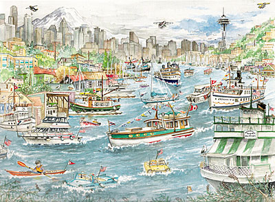 Seattle Watercolors: Seattle Yacht Club, Limited Edition Print