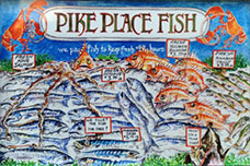 Seattle watercolors pike place fish refrigerator magnet for Best places to magnet fish