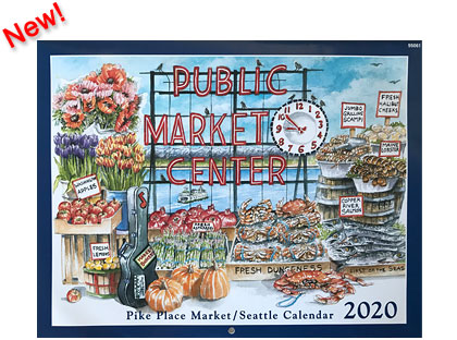 Market Calendar 2020 Seattle Watercolors   Seattle, Pike Place Market Calendars & Prints